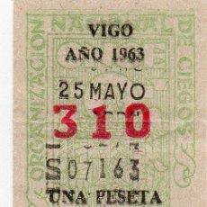 Cupones ONCE: CUPÓN ONCE, CUPÓN 25 DE MAYO, DE VIGO 1963.. Lote 209093537