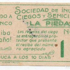 Cupones ONCE: CUPON ONCE, CUPÓN DE LA SOCIEDAD DE CIEGOS, LA PIEDAD, 29 DE ABRIL 1939, DE ALCOY. Lote 209094840
