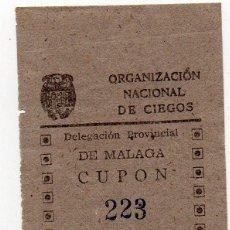 Cupones ONCE: CUPON ONCE, CUPON DE 19 ABRIL 1943, DE MALAGA. Lote 209097182