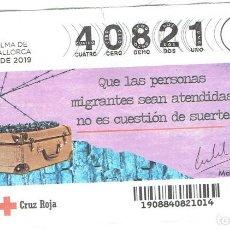 Billets ONCE: SORTEO DE LA CRUZ ROJA,18 DE JULIO DEL 2019. Lote 209843322