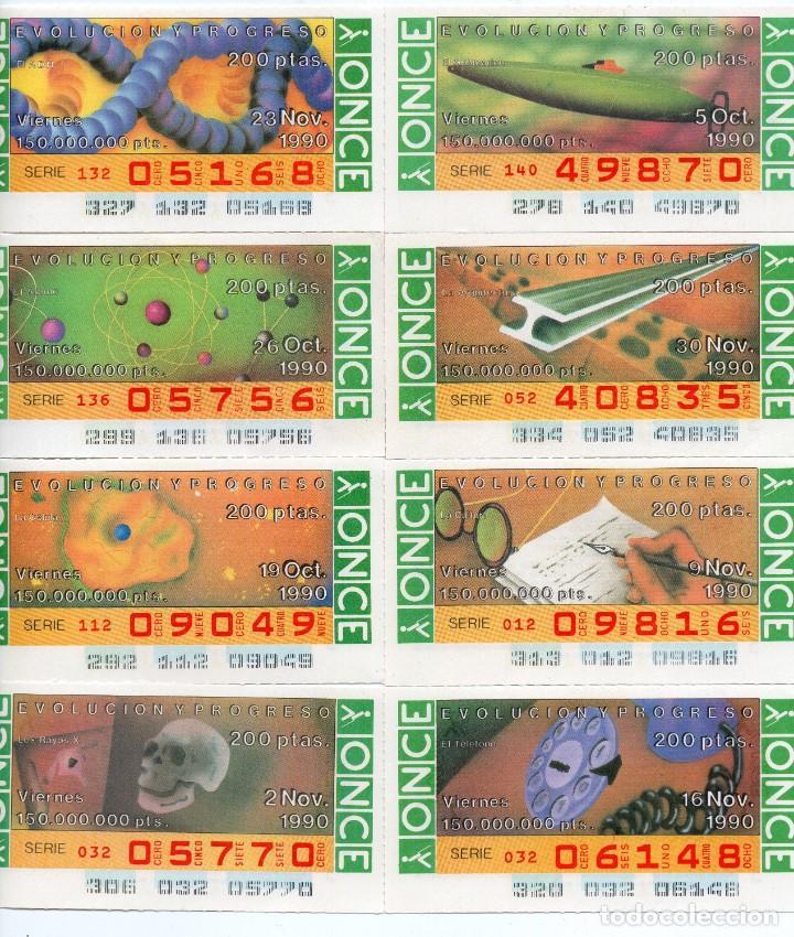 CUPÓN ONCE,8 CUPONES DE LOS 14 DE 200 PTS QUE NO SALIERON ALA VENTA EN EL 1990, (Coleccionismo - Lotería - Cupones ONCE)