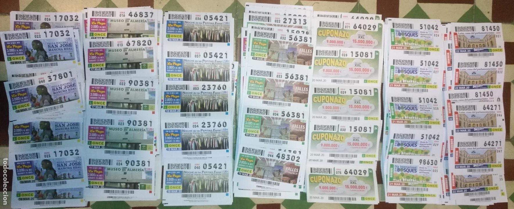 LOTE 7 CUPONES DE LA ONCE DIA 16 17 18 19 20 21 Y 22 CUPONES NO SORTEADOS MARZO 2020 CONFINAMIENTO (Coleccionismo - Lotería - Cupones ONCE)