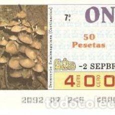 Cupones ONCE: CUPÓN ONCE DE 2-9-87. SETAS. DERMOCYBE SEMISANGUINEA. REF. 8-870902. Lote 210613201