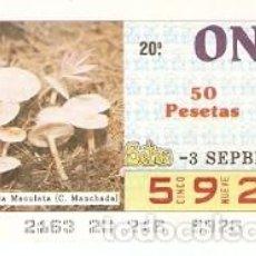 Cupones ONCE: CUPÓN ONCE DE 3-9-87. SETAS. COLLYBIA MACULATA. REF. 8-870903. Lote 210613268