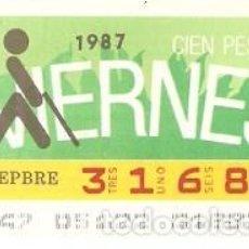 Cupones ONCE: CUPÓN ONCE DE 4-9-87. LOGO. MELOCOTÓN. REF. 8-870904. Lote 210613337