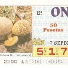 Cupones ONCE: CUPÓN ONCE DE 7-9-87. SETAS. BOLETUS CALOPUS. REF. 8-870907. Lote 210613391