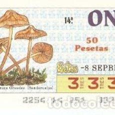 Cupones ONCE: CUPÓN ONCE DE 8-9-87. SETAS. MARASMIUS OREADES. REF. 8-870908. Lote 210613470