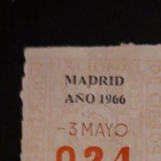 Cupones ONCE: 1 ** CUPON ANTIGUO DE LOS CIEGOS 3 DE MAYO DE 1966 ** 024 . .2 PTS DE MADRID. Lote 211609776
