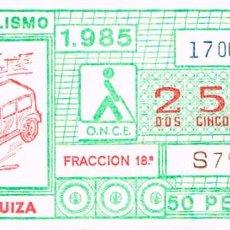 Cupones ONCE: CUPON DE LA ONCE DEL 17-10-1985, AUTOMOVILISMO: HISPANO-SUIZA. Lote 213721486
