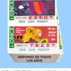 Cupones ONCE: 1991 - CUPONES DE LA ONCE / AÑO COMPLETO INCLUIDO LOS SORTEOS ESPECIALES / CALIDAD MUY BUENA. Lote 213954482