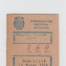Cupones ONCE: ORGANIZACIÓN NACIONAL DE CIEGOS. DELEGACIÓN DE CÁDIZ. CUPÓN DE 10 CÉNTIMOS. 26 DE MARZO DE 1.949.. Lote 214182463