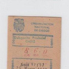 Cupones ONCE: ORGANIZACIÓN NACIONAL DE CIEGOS. DELEGACIÓN DE CÁDIZ. CUPÓN DE 10 CÉNTIMOS. 26 DE MARZO DE 1.949.. Lote 214182532