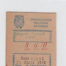 Cupones ONCE: ORGANIZACIÓN NACIONAL DE CIEGOS. DELEGACIÓN DE CÁDIZ. CUPÓN DE 10 CÉNTIMOS. 26 DE MARZO DE 1.949.. Lote 214182565