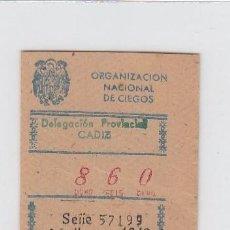 Cupones ONCE: ORGANIZACIÓN NACIONAL DE CIEGOS. DELEGACIÓN DE CÁDIZ. CUPÓN DE 10 CÉNTIMOS. 26 DE MARZO DE 1.949.. Lote 214182582