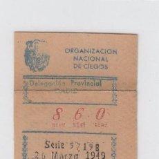 Cupones ONCE: ORGANIZACIÓN NACIONAL DE CIEGOS. DELEGACIÓN DE CÁDIZ. CUPÓN DE 10 CÉNTIMOS. 26 DE MARZO DE 1.949.. Lote 214182632