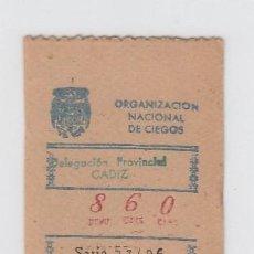 Cupones ONCE: ORGANIZACIÓN NACIONAL DE CIEGOS. DELEGACIÓN DE CÁDIZ. CUPÓN DE 10 CÉNTIMOS. 26 DE MARZO DE 1.949.. Lote 214182653