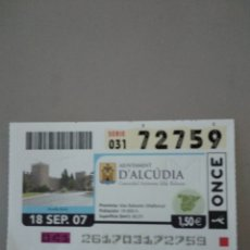 Cupones ONCE: CUPÓN ONCE - D'ALCUDIA -. Lote 214843202