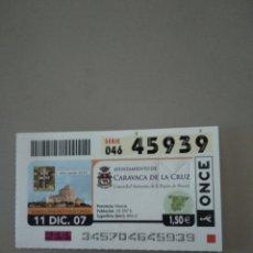 Cupones ONCE: CUPÓN ONCE - CARAVACA DE LA CRUZ -. Lote 214845553