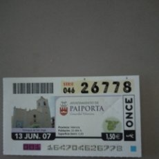 Cupones ONCE: CUPÓN ONCE - PAIPORTA -. Lote 214847890
