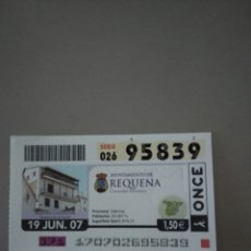 Cupones ONCE: CUPÓN ONCE - REQUENA -. Lote 214848517