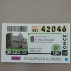 Cupones ONCE: CUPÓN ONCE - GONDOMAR -. Lote 214998475