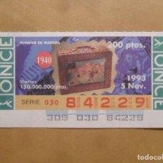 Cupones ONCE: CUPON O.N.C.E. - Nº 84229 - VIERNES 5 NOVIEMBRE 1993 - PLUMIER DE MADERA. Lote 215184906