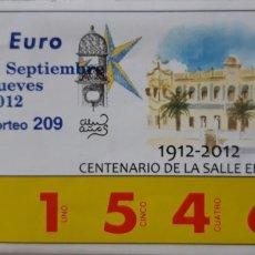 Cupones ONCE: CUPÓN RIFA DE LA CARIDAD DE MELILLA. Lote 216386372