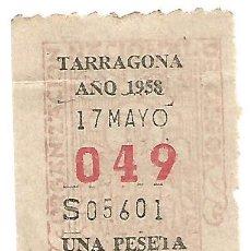 Bilhetes ONCE: CUPON DIARIO SORTEO ONCE TARRAGONA 17 MAYO 1958 Nº 049 SERIE 05601 UNA PESETA. Lote 217034496