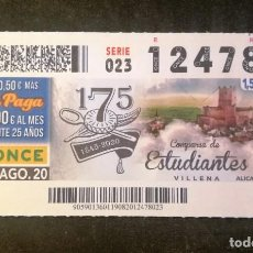 Bilhetes ONCE: Nº 12478 (19/AGOSTO/2020)-ALICANTE. Lote 217225702