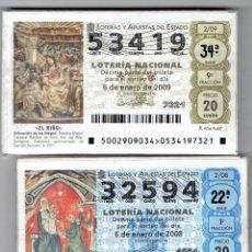 Billets ONCE: DOS AÑOS DE LA LOTERIA NACIONAL, 2008, 2009, COMPLETOS. Lote 217519110