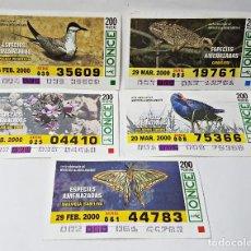 Cupones ONCE: 5 CUPONES ONCE DEL 2000 ESPECIES AMENAZADAS.. Lote 217732296