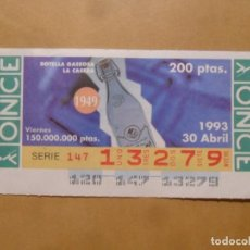 Bilhetes ONCE: CUPON O.N.C.E. - Nº 13279 - VIERNES 30 ABRIL 1993 - BOTELLA GASEOSA LA CASERA -. Lote 218119521