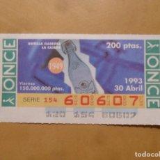 Bilhetes ONCE: CUPON O.N.C.E. - Nº 60607 - VIERNES 30 ABRIL 1993 - BOTELLA GASEOSA LA CASERA -. Lote 218119635