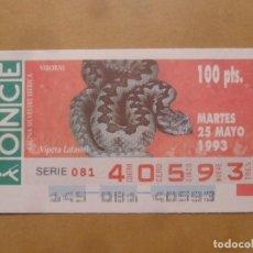 Cupones ONCE: CUPON O.N.C.E. - Nº 40593 - MARTES 25 MAYO 1993 - FAUNA SILVESTRE IBERICA. VIBORAS -. Lote 218124126