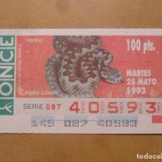 Cupones ONCE: CUPON O.N.C.E. - Nº 40593 - MARTES 25 MAYO 1993 - FAUNA SILVESTRE IBERICA. VIBORAS -. Lote 218124206