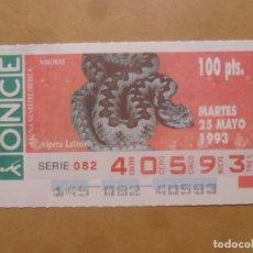 Cupones ONCE: CUPON O.N.C.E. - Nº 40593 - MARTES 25 MAYO 1993 - FAUNA SILVESTRE IBERICA. VIBORAS -. Lote 218124306
