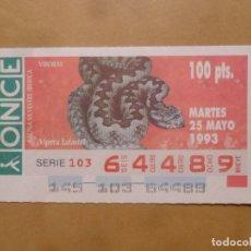 Cupones ONCE: CUPON O.N.C.E. - Nº 64489 - MARTES 25 MAYO 1993 - FAUNA SILVESTRE IBERICA. VIBORAS -. Lote 218124466