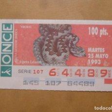 Cupones ONCE: CUPON O.N.C.E. - Nº 64489 - MARTES 25 MAYO 1993 - FAUNA SILVESTRE IBERICA. VIBORAS -. Lote 218124650