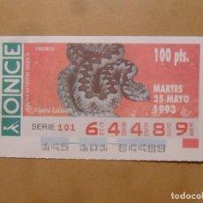 Cupones ONCE: CUPON O.N.C.E. - Nº 64489 - MARTES 25 MAYO 1993 - FAUNA SILVESTRE IBERICA. VIBORAS -. Lote 218124732