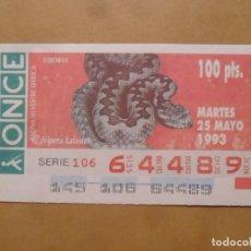 Cupones ONCE: CUPON O.N.C.E. - Nº 64489 - MARTES 25 MAYO 1993 - FAUNA SILVESTRE IBERICA. VIBORAS -. Lote 218125008