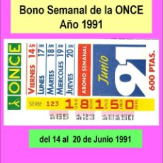 Cupones ONCE: 1991 - BONO SEMANAL - MUY DIFICIL - DEL 14 AL 20 DE JUNIO (VER DETALLES O DESCRIPCIÓN). Lote 218198650