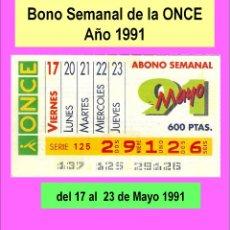 Cupones ONCE: 1991 - BONO SEMANAL - MUY DIFICIL - DEL 17 AL 23 DE MAYO (VER DETALLES O DESCRIPCIÓN). Lote 218199305