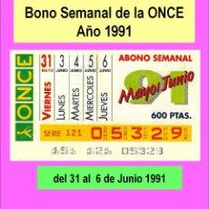 Cupones ONCE: 1991 - BONO SEMANAL - MUY DIFICIL - DEL 31 DE MAYO AL 6 DE JUNIO (VER DETALLES O DESCRIPCIÓN). Lote 218199467