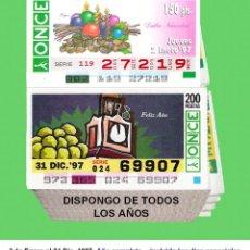 Cupones ONCE: 1997 - CUPONES DE LA ONCE / AÑO COMPLETO INCLUIDO LOS SORTEOS ESPECIALES / CALIDAD MUY BUENA. Lote 218199913