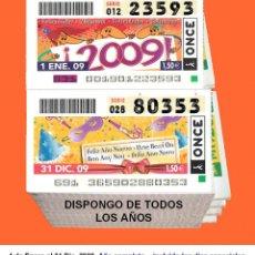 Cupones ONCE: 2009 - CUPONES DE LA ONCE / AÑO COMPLETO INCLUIDO LOS SORTEOS ESPECIALES / CALIDAD MUY BUENA. Lote 218200001