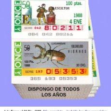 Cupones ONCE: 1988 - CUPONES DE LA ONCE / AÑO COMPLETO INCLUIDO LOS SORTEOS ESPECIALES / CALIDAD MUY BUENA. Lote 218200527