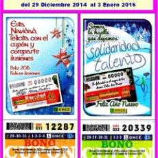 Cupones ONCE: 2015 - AÑO COMPLETO - BONO SEMANAL DE LA ONCE / ENTERO SIN CORTAR / CALIDAD MUY BUENA. Lote 218964953