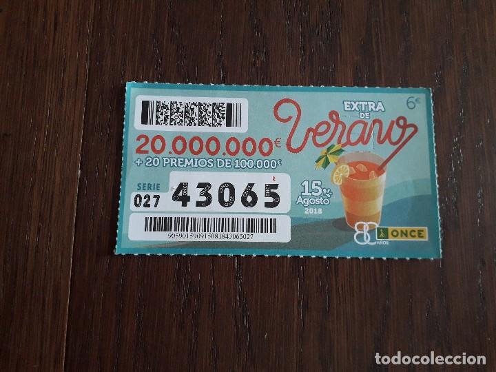 CUPÓN DE LA ONCE, 15-08-2018 EXTRA DE VERANO (Coleccionismo - Lotería - Cupones ONCE)