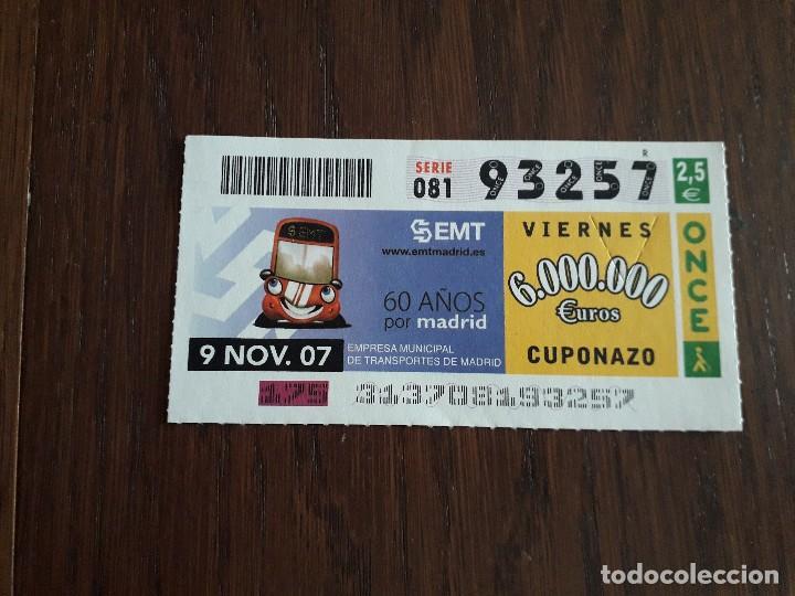 CUPÓN ONCE 09-11-07 60 AÑOS EMPRESA MUNICIPAL DE TRANSPORTES DE MADRID, EMT (Coleccionismo - Lotería - Cupones ONCE)