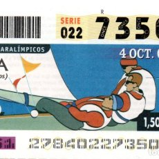 Bilhetes ONCE: CUPÓN DE LA ONCE - AÑO 2004 - 4 DE OCTUBRE - DEPORTES PARALÍMPICOS: VELA -. Lote 219917145